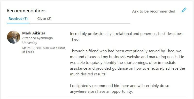Mark Aikiriza LinkedIn Testimonial for Theo De Roza Direct Response Copywriter Web Developer